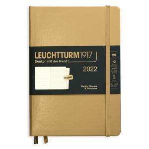Kalender 2021 Leuchtturm1917 A5 vecka/notesuppslag Gold 2022
