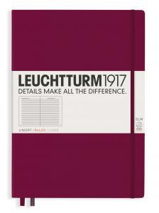 Leuchtturm1917 Leuchtturm Notebook A4 Slim Hard 121s Port Red linjerad - Kalenderkungen.se