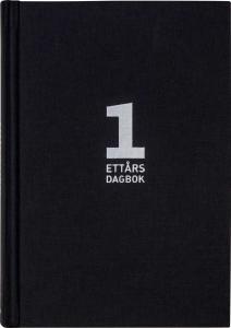 Dansk 1-årsdagbog svart linnetextil