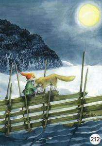 Vykort Inge Löök Tomten på staketet med räv