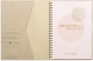 Life Planner Pink A5 beige konstläder Tora med slejf
