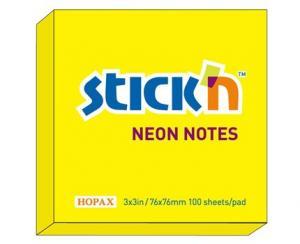 B.N.T Notesblock 76x76 Gul neon - Kalenderkungen.se