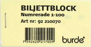 Biljettblock gul