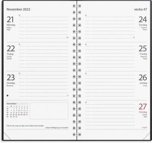 Fickkalender Master svart konstläder 2022