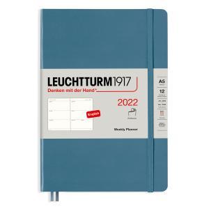Kalender Leuchtturm1917 A5 Soft Vecka/uppslag Stone BLue 2022