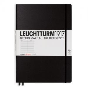 Leuchtturm1917 Leuchtturm Notebook A4 Slim Hard 121s Black linjerad - Kalenderkungen.se