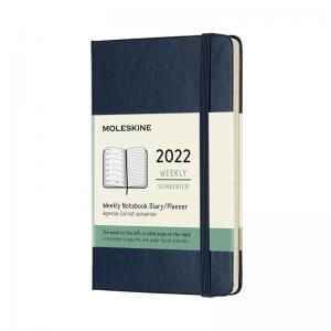 Moleskine Weekly Notebook Blue hard pocket 2022