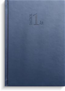 1-årsdagbok blått konstläder 2022