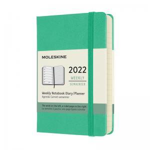 Moleskine Weekly Notebook Green hard pocket 2022
