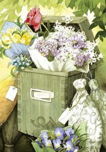 Vykort Inge Löök Blommor i brevlåda