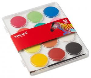 Barnvattenfärgset Penol Vattenfärger Jumbo 12 paletter 50 mm