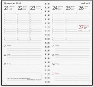 Fickkalender Minister svart plast 2022
