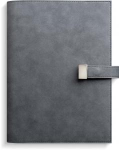 Dagbok, grå mocka med slejf