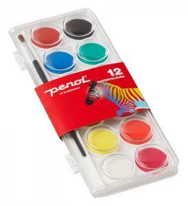 Barnvattenfärgset Penol Vattenfärger 12 paletter 30 mm