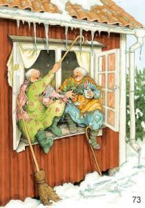 Vykort Inge Löök på fönsterbrädet