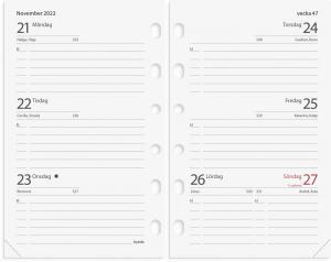 Compact Systemkalender svart konstläder 2022