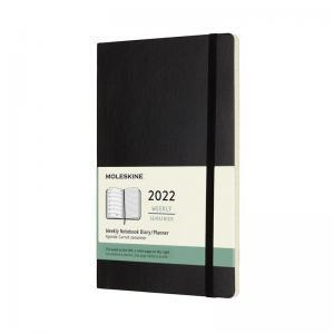 Moleskine Weekly notebook Large Black Soft 2022